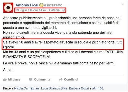 Antonio Ficai incazzato minaccia